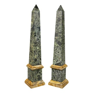 Italian Grand Tour Verde Antico and Siena Marble Obelisks - a Pair For Sale