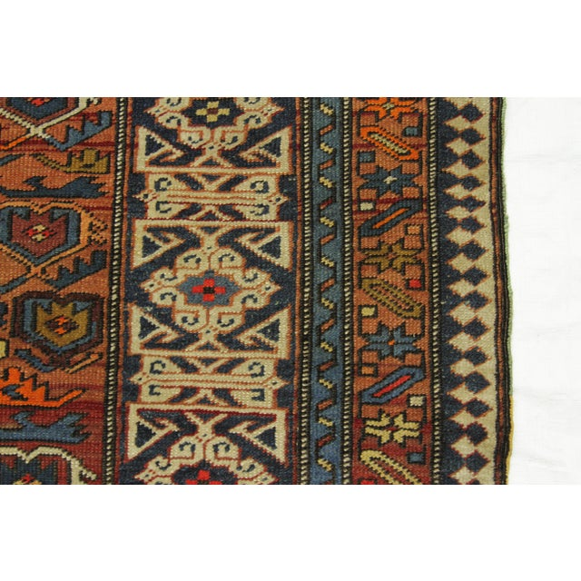 Antique Persian Rug Shirvan Design With Dainty Heart-Shaped Patterns Circa 1930's - 4′2″ × 9′8″ For Sale - Image 9 of 12
