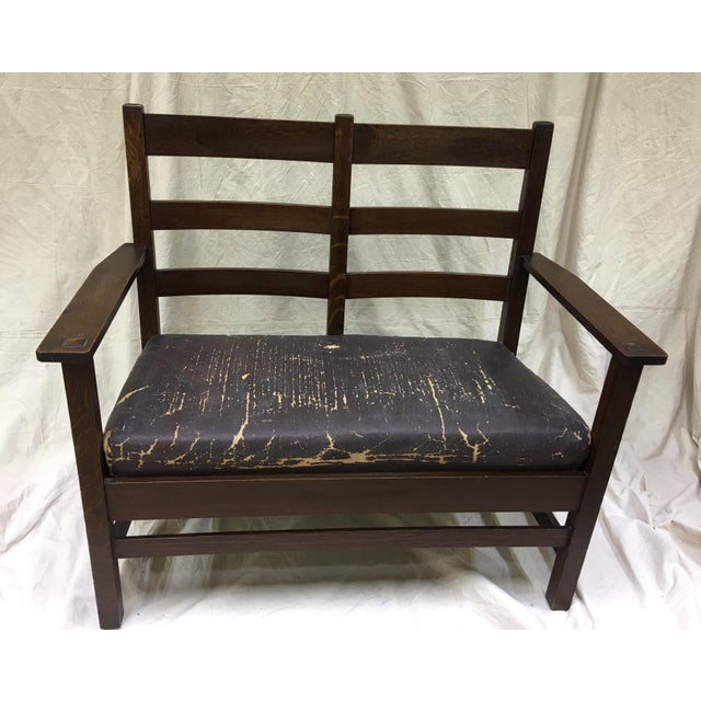 Mission Oak, Arts and Crafts settee with original seat and tag (as shown in photo) by Lifetime Furniture a division of...
