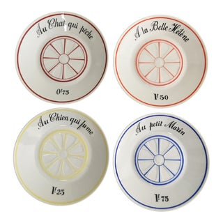 Lourioux Mid Century French Bistro Tip Plates ~ Set of 4 For Sale