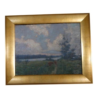 Circa 1910s Landscape Oil Painting by Charles Franklin Chamberlain, Framed For Sale