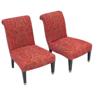 """Jansen"" Slipper Chairs With Brass Caster Legs - a Pair For Sale"