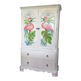 1980s Shabby Chic Hand Painted Flamingo Bar Cabinet For Sale