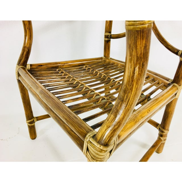 Brown 1980s Mid-Century Modern McGuire Rattan Dining Arm Chairs - Set of 6 For Sale - Image 8 of 13