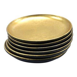 Vintage Mid Century 6 Piece Gold Lacquer Ware Coaster Set, Made in Japan For Sale