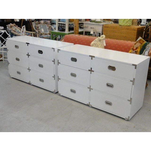 Metal White Lacquered Campaign Chests - A Pair For Sale - Image 7 of 10