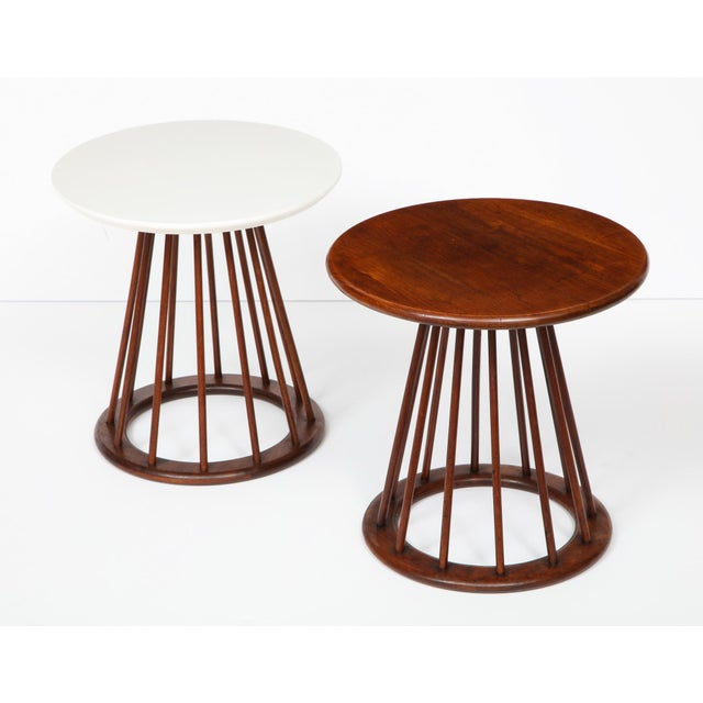 Set of two round spindle leg side tables designed by Arthur Umanoff and produced by Washington Woodcraft, circa 1950's....