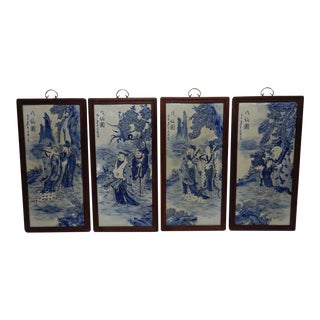Set of 4 Large Chinese Blue & White Porcelain Plaques of Immortal Figures For Sale