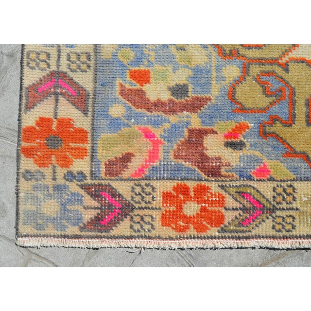 Blue Distressed Area Rug Hand Knotted Colorful Oushak Medallion Rug - 4'4'' X 7'3'' For Sale - Image 8 of 12