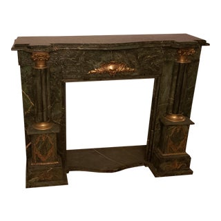 Verde Marble Fireplace Mantel For Sale