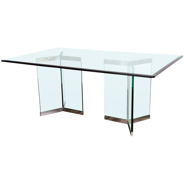 1970s Leon Rosen for Pace Collection Chrome & Glass Rectangular Dining Table For Sale