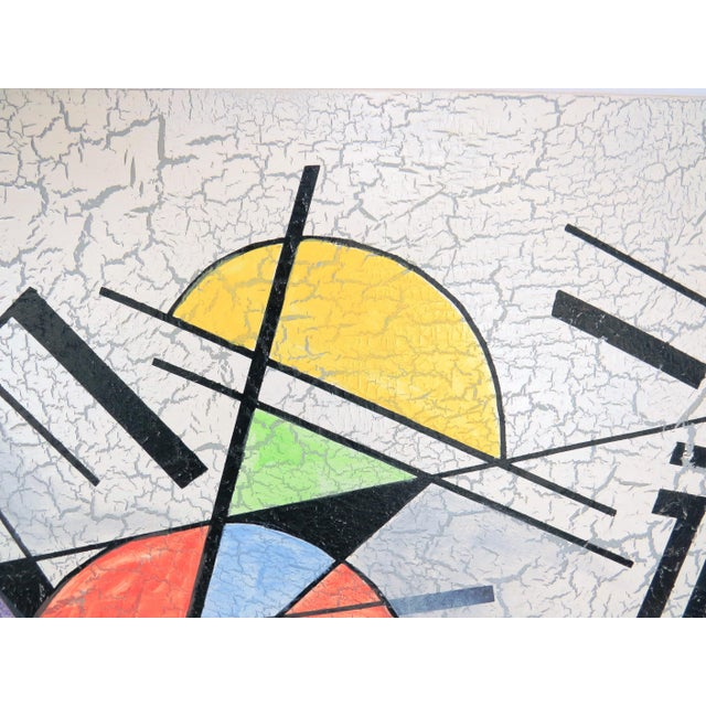White 1980s Lee Reynolds Large Abstract Painting in the Style of Wassily Kandinsky For Sale - Image 8 of 11