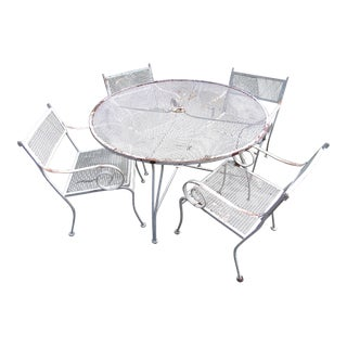 Vintage Iron Patio Dining Set For Sale