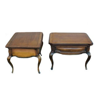 French Provincial Serpentine Carved Wood Side Coffee Tables - a Pair Preview