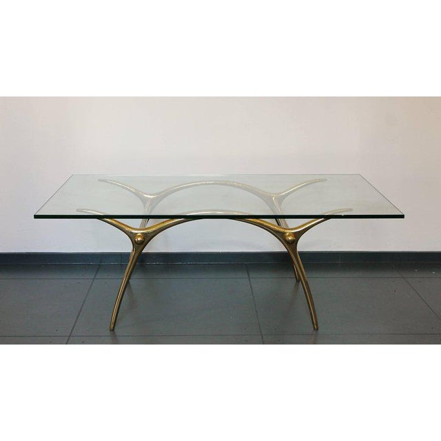 Modern 1970s Coffee Table in Glass an Polished Brass by Belgian Designer Kouloufi For Sale - Image 3 of 6