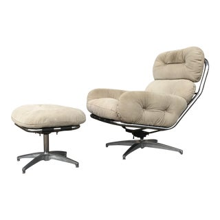 Milo Baughman for Directional Suede Lounge Chair & Ottoman