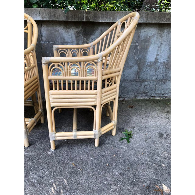 1980s Brighton Pavilion Style Bamboo armChairs- a Pair For Sale - Image 5 of 7