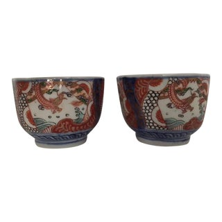 Antique Japanese Imari Porcelain Colored Tea Cups - a Pair