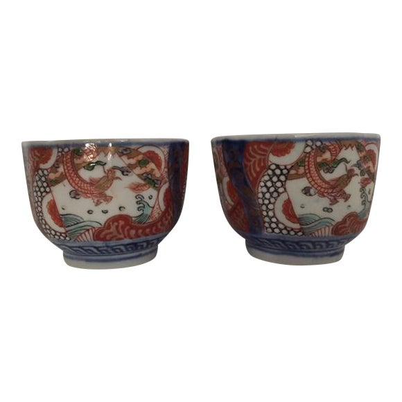 Antique Japanese Imari Porcelain Colored Tea Cups - a Pair For Sale