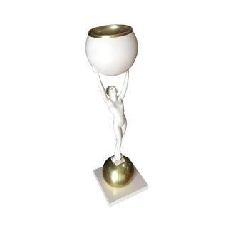 Frankart Style Beige and Brass Nude Figural Cocktail Smoker For Sale