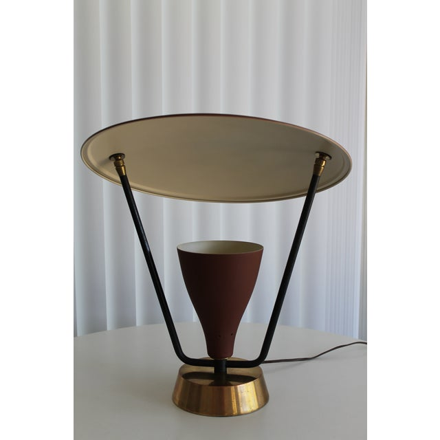 1950s Burgundy and Gold Saucer Reflector Lamp For Sale - Image 4 of 9