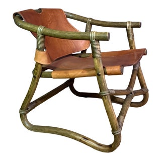 """""""Espri"""" 1970s Lounge Chair, Saddle Leather Over Bamboo, Sweden For Sale"""