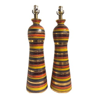 1960s Italian Ceramic Table Lamps - a Pair For Sale