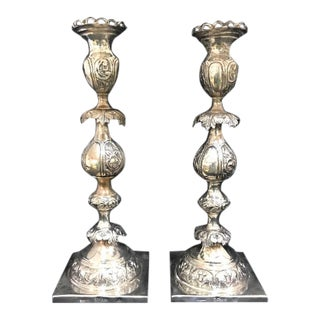 Sterling Polish Sabbath Candlesticks by M. L. Stern - a Pair For Sale