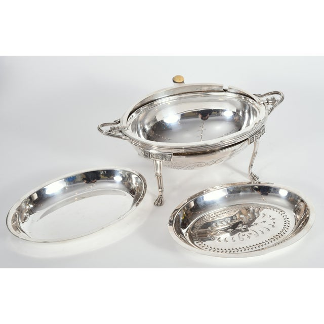 Silver Vintage English Silver Plate / Copper Footed Tableware Server For Sale - Image 8 of 11