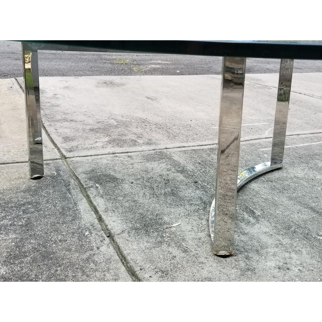 Mid-Century Modern Italian Glass & Chrome Boomerang Style Coffee Table - Image 9 of 10