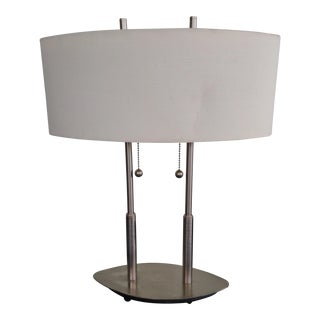1990's Brushed Nickel Two Bulb Table / Office Lamp For Sale