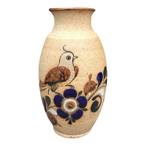 Hand Painted Bird Vase For Sale