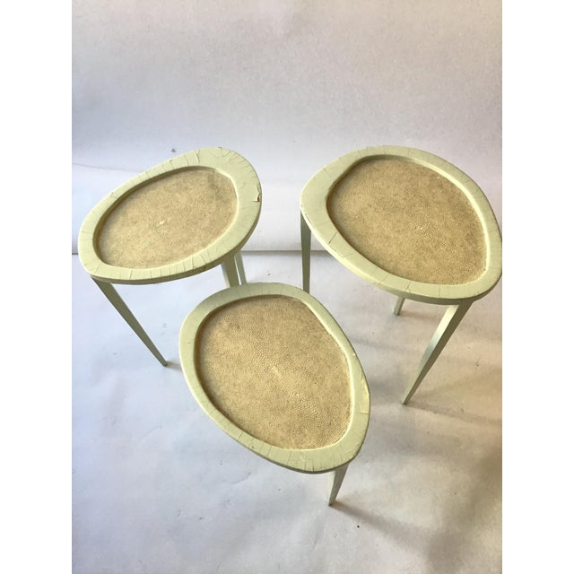 1990s Set of Three R & Y Augousti Organic Shaped Shagreen Drink Tables For Sale - Image 5 of 13