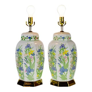 Vintage Ceramic Ginger Jar Style Floral Design Table Lamps - a Pair