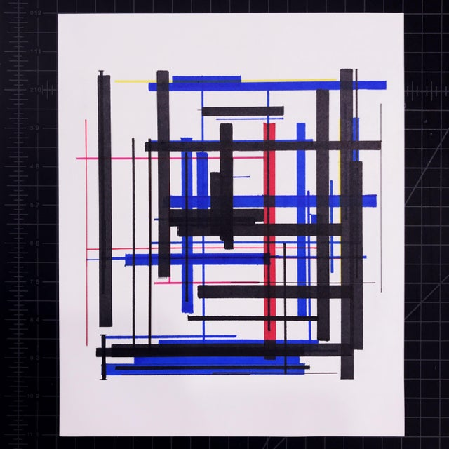 This contemporary abstract drawing by American artist Brandon Woods features interwoven layers of black, with vivid...