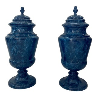 1940s Italian Faux Lapis Urns - a Pair For Sale