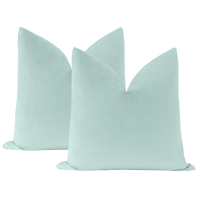 "Not Yet Made - Made To Order 22"" Sky Blue Velvet Pillows - a Pair For Sale - Image 5 of 5"