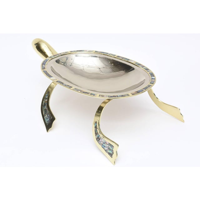 Los Castillo Abalone, Brass & Silver Plate Centerpiece/Serving Bowl For Sale In Miami - Image 6 of 10