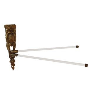 Antique French Bronze Ormolu With Modern Glass Rods Avoir Towel Bar For Sale