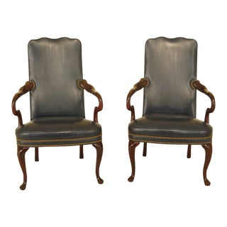 Hancock & Moore Blue Leather Mahogany Armchairs - a Pair For Sale
