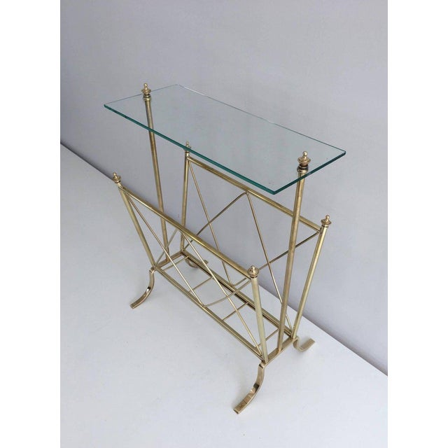 1940s French Brass and Glass Magazine Rack, Attributed to Maison Jansen For Sale - Image 9 of 11