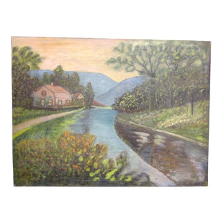 19th Century Antique Outsider Art Rural Landscape Oil on Canvas Painting For Sale