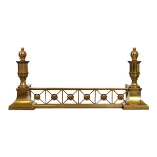 Antique Regency Style Brass Fireplace Fender For Sale