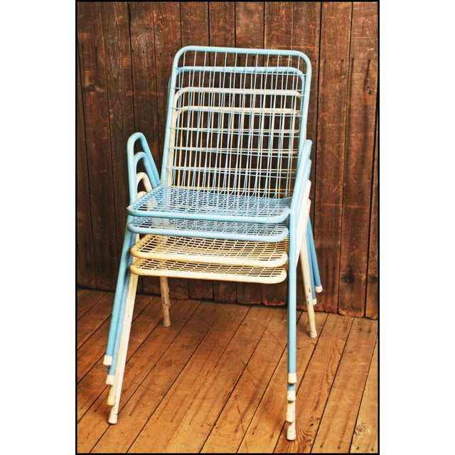 Mid Century Modern Metal Stacking Patio Chairs Set Of 4