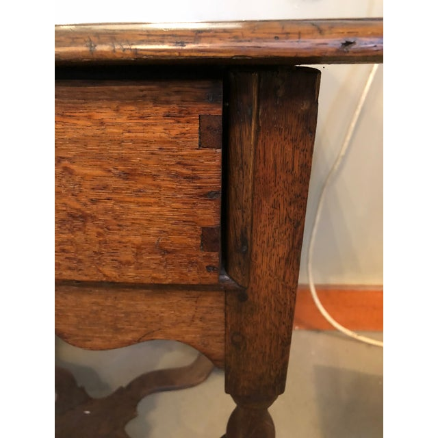 Brown 19th Century Traditional William & Mary Revival English Oak Table with Drawer For Sale - Image 8 of 12