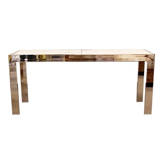 Mid-Century Modern Milo Baughman Chrome and White Marble Console Table, 1970s For Sale