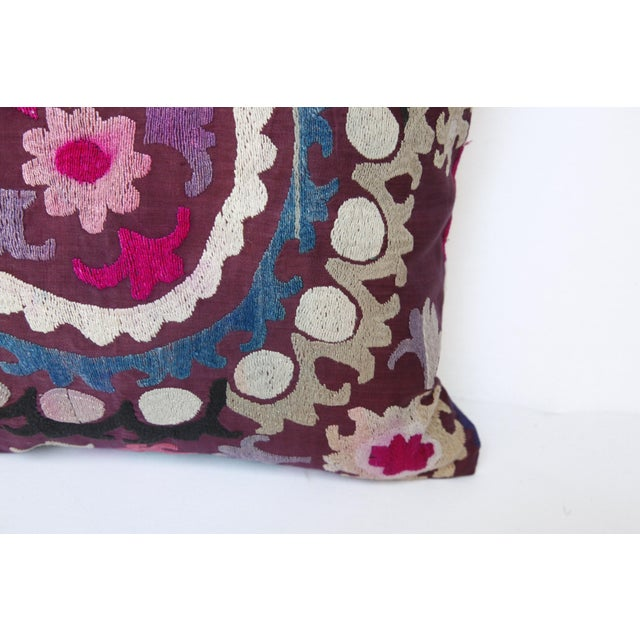 Rose Vintage Handmade Needlework Suzani Throw Pillow Cover For Sale - Image 8 of 13
