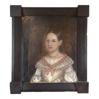 Early 19th Century American Folk Art Portrait Oil Painting of a Girl, Framed For Sale