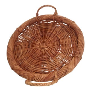 Large Vintage Wicker Gathering Basket Tray For Sale
