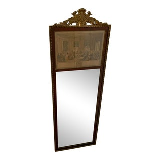"Antique French Gilt and Wood Trimmed Trumeau Wall Mirror Entitled "" Le Concert"" For Sale"